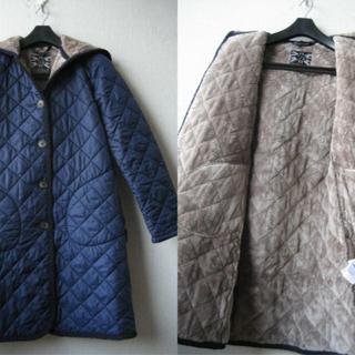 ラベンハム(LAVENHAM)のラベンハム ファー キルティングコート BRUNDON ブルー×ベージュ(ロングコート)