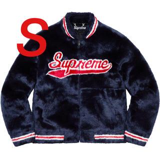 Supreme - Supreme Faux Fur Varsity Jacket Navy S