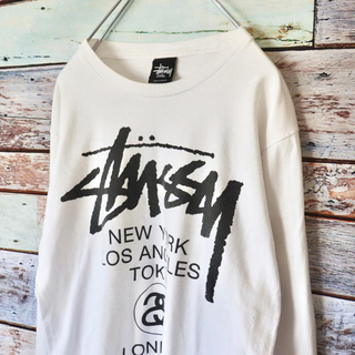 STUSSY - STUSSY ステューシー 定番 ワールドツアー ロンT ホワイト白 S