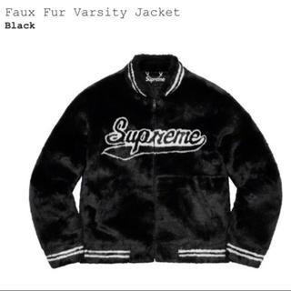 Supreme - シュプリーム  Faux Fur Varsity Jacket 黒 L