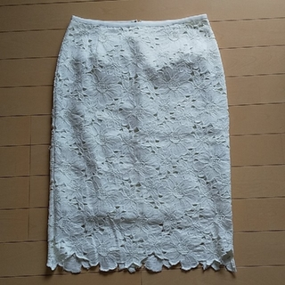 デミルクスビームス(Demi-Luxe BEAMS)のBEAMSレーススカート 36 ホワイト(ひざ丈スカート)