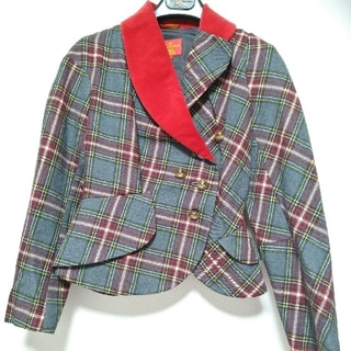Vivienne Westwood - VivienneWestwood チェックジャケット 赤×グレーラブジャケット