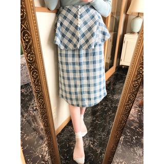 マメ(mame)のmame kurogouchi チェック スカート 水色 ブルー(ひざ丈スカート)