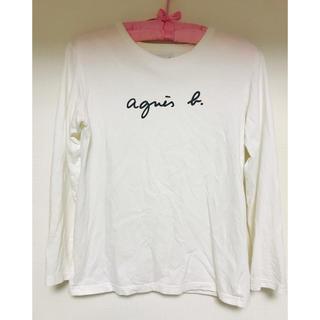 アニエスベー(agnes b.)のagnes b. ロゴ ホワイト 長袖トップス(カットソー(長袖/七分))