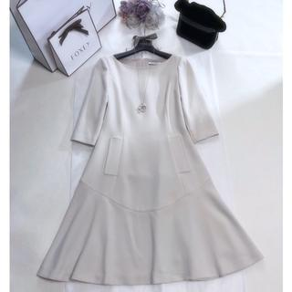 "FOXEY - フォクシー ""Half Sleeve Dress"" サンドベージュ 38"