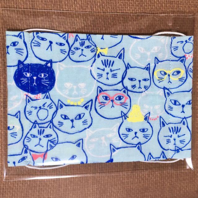 マスク 部屋の中 | ハンドメイドマスク・大人用・ねこ/ネコ/猫(ブルー) 1枚の通販 by ぱんだうさぎ's shop