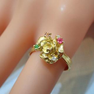 ■岩倉康二 K18マルチカラーストーン・ダイヤモンドリング■薔薇 バラ■岩倉康二(リング(指輪))