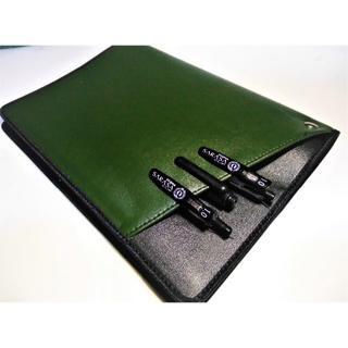 Cover pocket【A4ノートカバー】2冊用■合皮■グリーン/黒(その他)