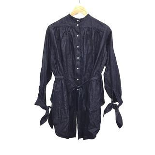 フィーニー(PHEENY)のPHEENY フィーニー レディース コットンリネンシャツ フリーサイズ 紺(シャツ/ブラウス(長袖/七分))