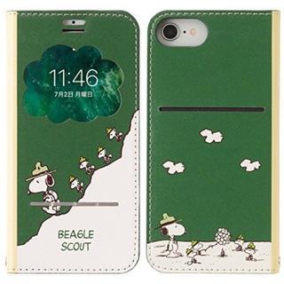 SNOOPY - スヌーピー iPhone8/7/6s/6  手帳型ケース グリーン