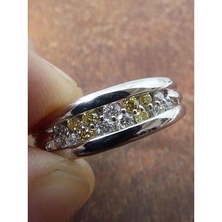 イエローダイヤとカラーレスダイヤのバランス!Pt900ダイヤリング 12号(リング(指輪))
