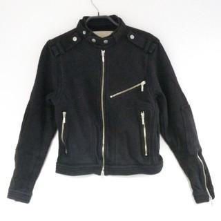 ◆45【 期間限定 【 珍品 】 シングル ライダース パテッド ジャケット 黒(ライダースジャケット)