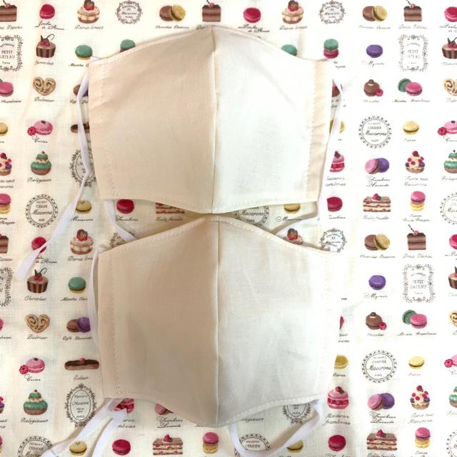 マスク99 %カットフィルター 、 ハンドメイド 大人用 立体ガーゼマスク 生成り色 2枚セットの通販