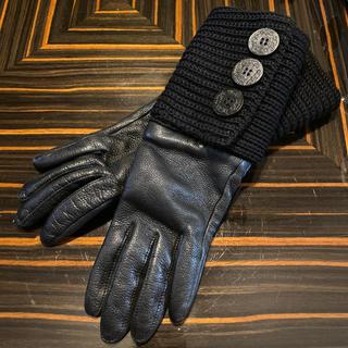 UGG - アグ  ugg ラムレザー ニット 手袋 グローブ ブラック レディース