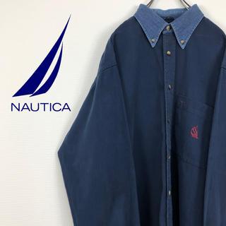ノーティカ(NAUTICA)のノーティカ NOUTICA USA製 90s 旧刺繍ロゴ ネイビー BDシャツ(シャツ)