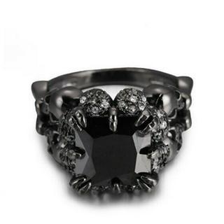 BLK02黒石を持つ王室の女性リング日本サイズ18号(リング(指輪))