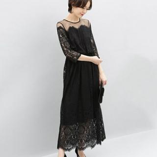 アダムエロぺ(Adam et Rope')のアダムエロペ 美品 結婚式 ドレス 黒(ロングドレス)