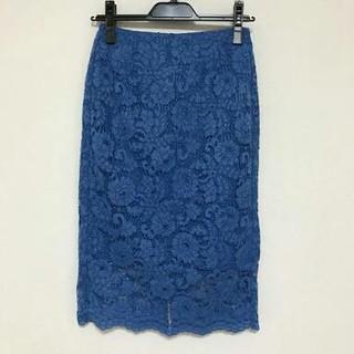 ユニクロ(UNIQLO)のユニクロ レーススカート Blue XL(ひざ丈スカート)
