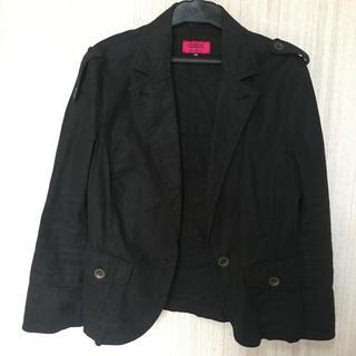 オゾック(OZOC)のOZOC 麻素材ブラックジャケット(テーラードジャケット)