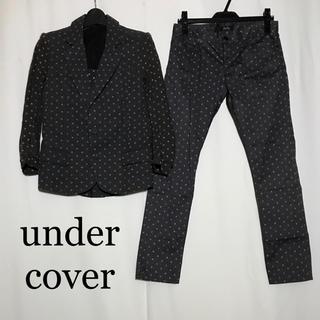 アンダーカバー(UNDERCOVER)のアンダーカバー undercover スーツ ジャケット パンツ 綿 総柄 黒(セットアップ)
