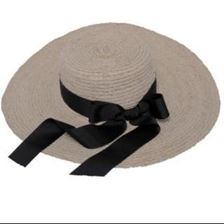 エイミーイストワール(eimy istoire)のエイミーイストワール つば広 カンカン帽 リボン 麦わら帽子 ハット eimy (麦わら帽子/ストローハット)
