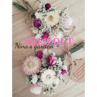 ドライフラワー*°♡Pink Flowerミニスワッグ2点セット(ドライフラワー)