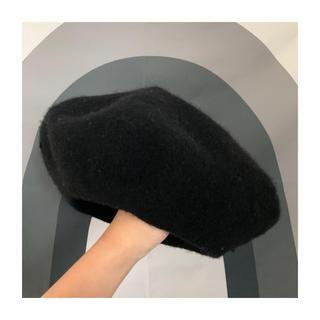 ジーユー(GU)のGU ジーユー ブラック ベレー帽(ハンチング/ベレー帽)