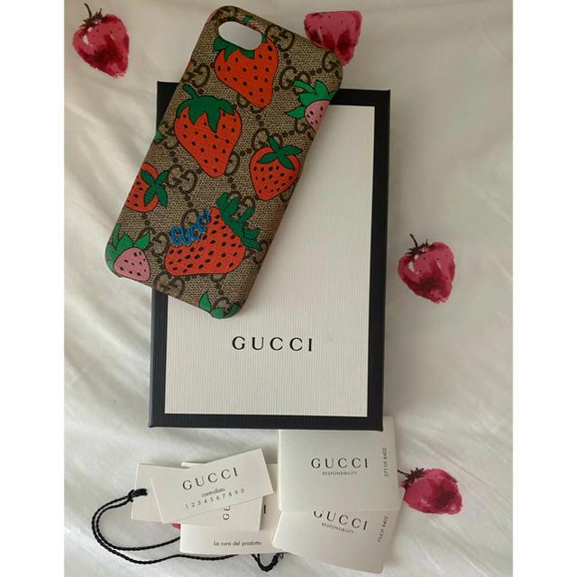 ディオール iphone8plus ケース 、 Gucci - GUCCI iPhone8ケース いちご🍓の通販