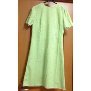古着 ギンガムチェック 半袖ワンピース 黄緑 グリーン(ひざ丈ワンピース)