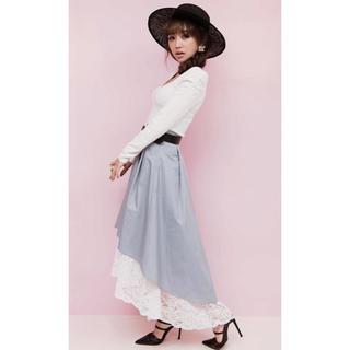 エイミーイストワール(eimy istoire)のeimy♡レースレイヤードボリュームスカート/ブルー(ロングスカート)