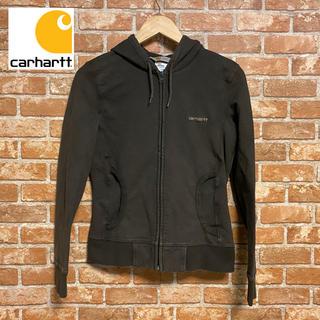 カーハート(carhartt)の古着 カーハート Carhartt  パーカー ブラウン 刺繍ロゴ レア商品(パーカー)