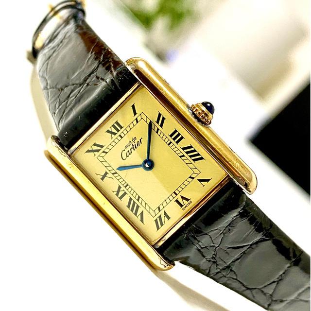 ムーンフェイズ 時計 ロレックス | Cartier - Cartie カルティエ  マストタンク ヴェルメイユ アンティーク 腕時計の通販