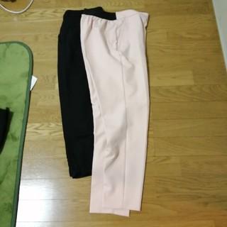 ジーユー(GU)のパンツ 黒 薄ピンク(サルエルパンツ)