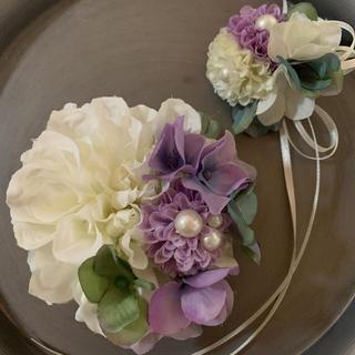 toytoy558【白ラベンダー】親子セットコサージュ 結婚式 卒業式 発表会(コサージュ/ブローチ)