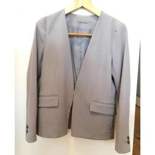 ジーユー(GU)のGU  ノーカラージャケット&アンクルパンツ グレーSサイズ(スーツ)