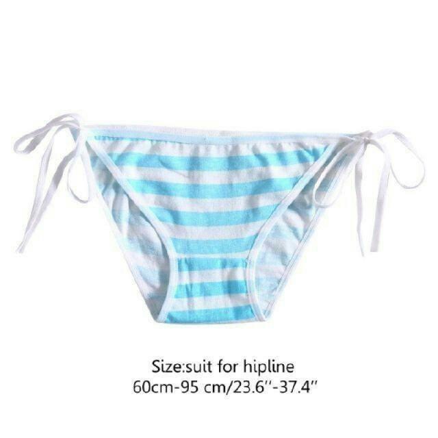 送料無料 2枚セット 縞パン カワイイ 紐 ピンク&ブルー ヒモパン シマパン エンタメ/ホビーのコスプレ(コスプレ用インナー)の商品写真