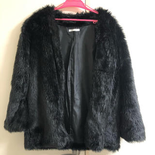 ウィゴー(WEGO)の黒 ファーコート (毛皮/ファーコート)