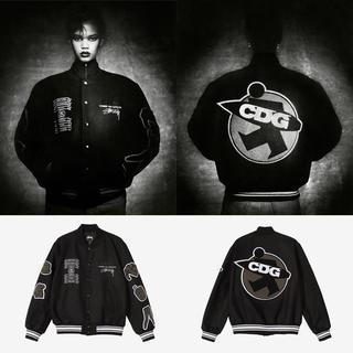STUSSY - stussy × CDG varsity jacket BLACK XL