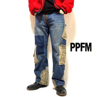 ピーピーエフエム(PPFM)の名作 PPFM ピーピーエフエム 再構築 ミリタリー 迷彩 デニム レザー(デニム/ジーンズ)