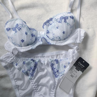 【新品、未使用】青白 刺繍ブラ&ショーツセット 【A65】(ブラ&ショーツセット)