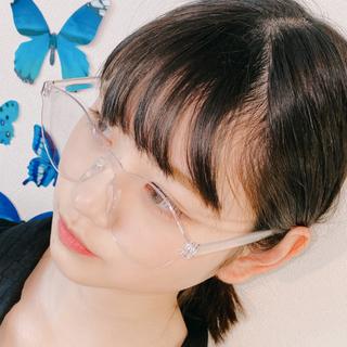 ゾフ(Zoff)の☍クリア眼鏡☍ キラキラ眼鏡ケース付き! 原宿ファッション 丸眼鏡 伊達眼鏡(サングラス/メガネ)