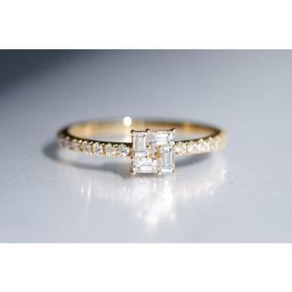 K18 AHKAH モザイク スクエア ダイヤモンド 0.33ct リング (リング(指輪))