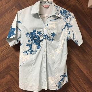 MAJUNレディースかりゆし  L ブルー(シャツ/ブラウス(半袖/袖なし))