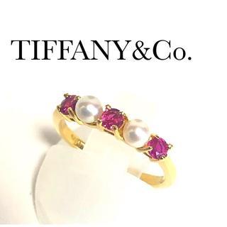 ティファニー(Tiffany & Co.)のティファニー K18YG  ルビー パール エタニティ リング(リング(指輪))