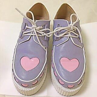 バブルス(Bubbles)のピンク×パープル ハートラバーソール💓(ローファー/革靴)
