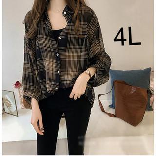 ブリットチェックシャツ 薄手 シースルー 長袖 チェック ブラウス 大きいサイズ(シャツ/ブラウス(長袖/七分))