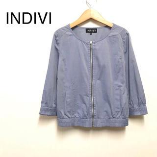 インディヴィ(INDIVI)のインディヴィ/ノーカラージャケット 薄手 サイズ38(ノーカラージャケット)