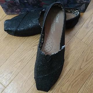 TOMS Classics Black Glitters 39インチ 25㎝(スリッポン/モカシン)