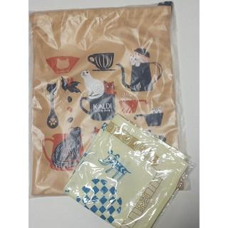 カルディ(KALDI)のカルディ 猫の日 巾着 & バンダナ & チョコレート(日用品/生活雑貨)