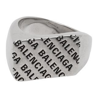 バレンシアガ(Balenciaga)のBalenciaga シルバー プレシャス ロゴ レクタングル リング(リング(指輪))